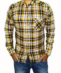 check shirt for men yellow