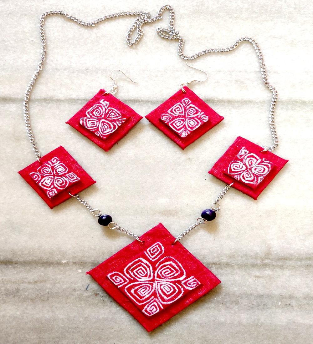 Ethnic Diamond Jewellery Set Shop Fabric Jewellery Online 199 Urbane Yogi