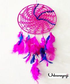 pink crochet dream catcher