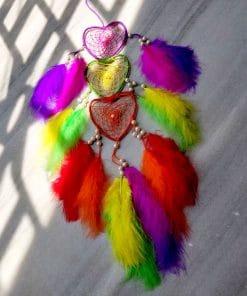 Rainbow heart dream catcher